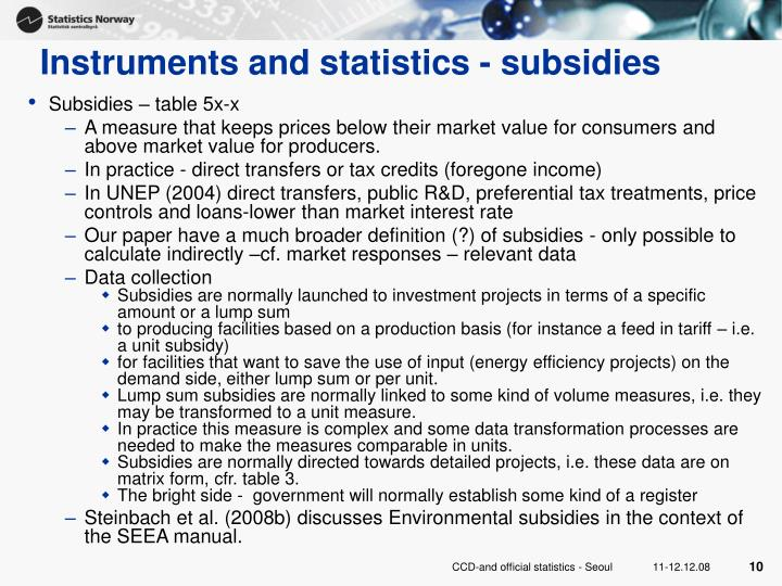 Instruments and statistics - subsidies