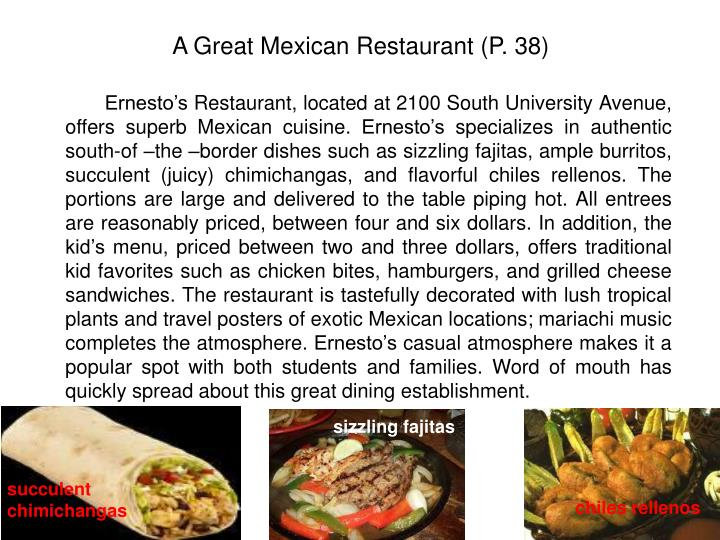A Great Mexican Restaurant (P. 38)