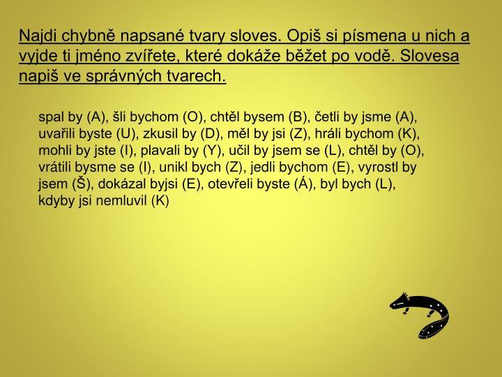 Najdi chybně napsané tvary sloves. Opiš si písmena u nich a vyjde ti jméno zvířete, které dokáže běžet po vodě. Slovesa napiš ve správných tvarech.