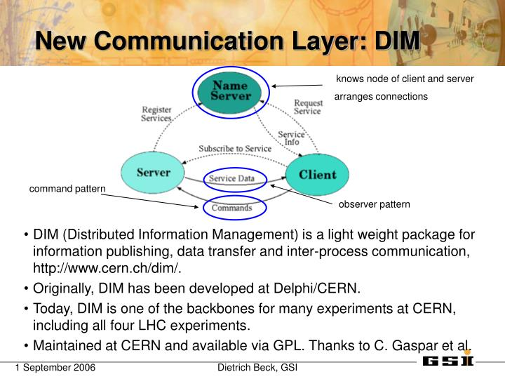 DIM (Distributed Information Management) is a light weight package for information publishing, data transfer and inter-process communication, http://www.cern.ch/dim/.