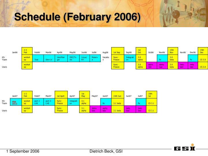 Schedule (February 2006)