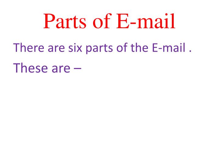 Parts of E-mail