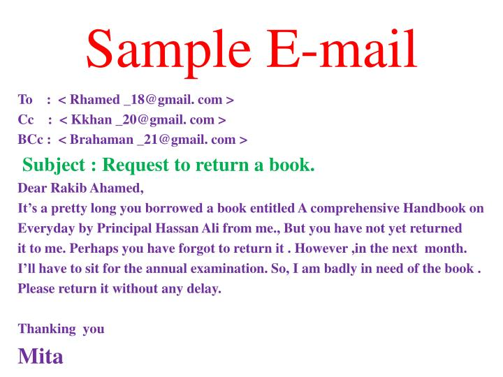 Sample E-mail