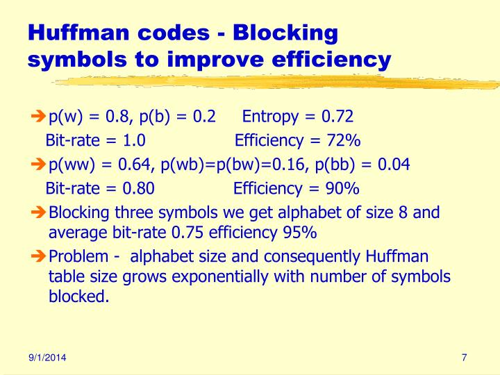 Huffman codes - Blocking symbols to improve efficiency