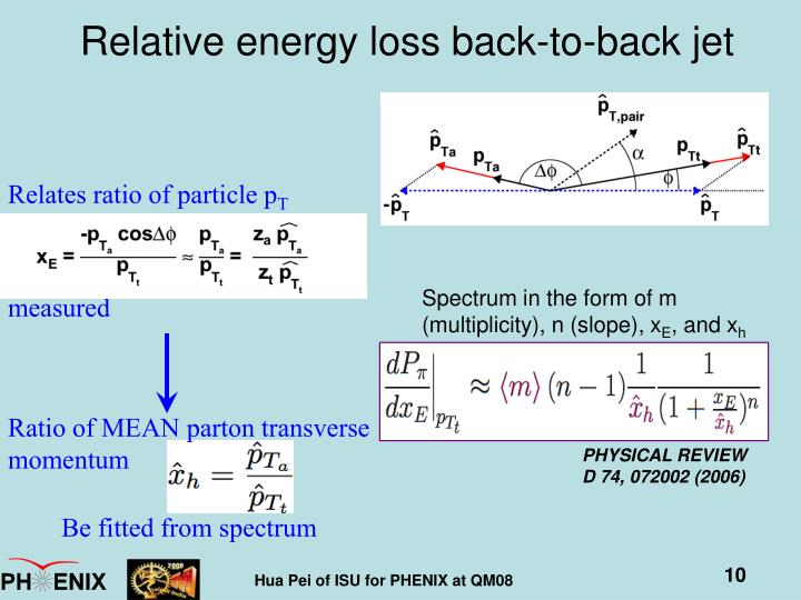 Relates ratio of particle p