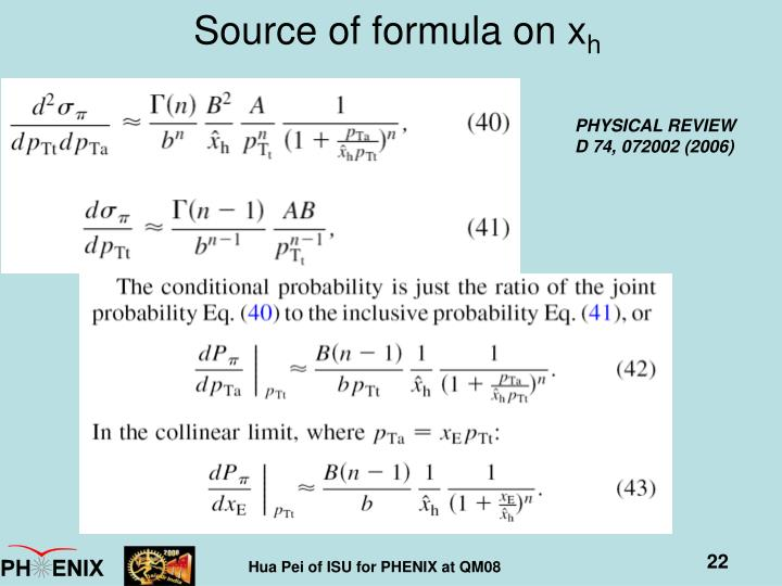 Source of formula on x