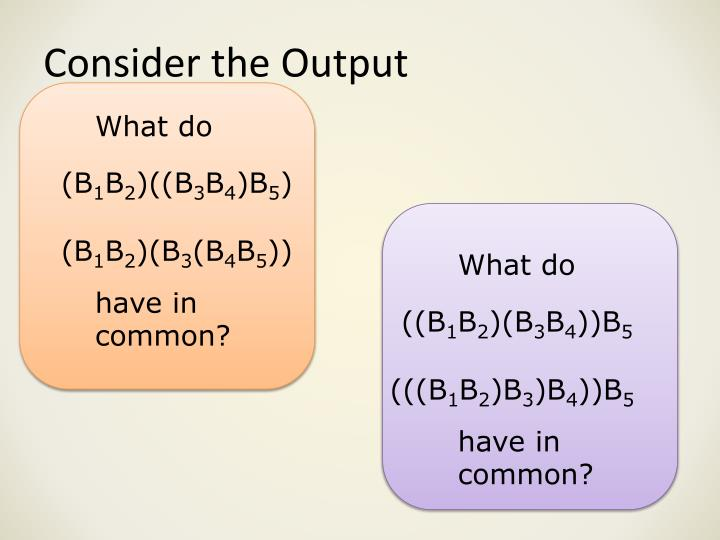 Consider the Output