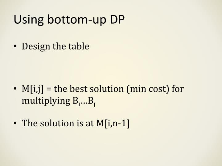 Using bottom-up DP