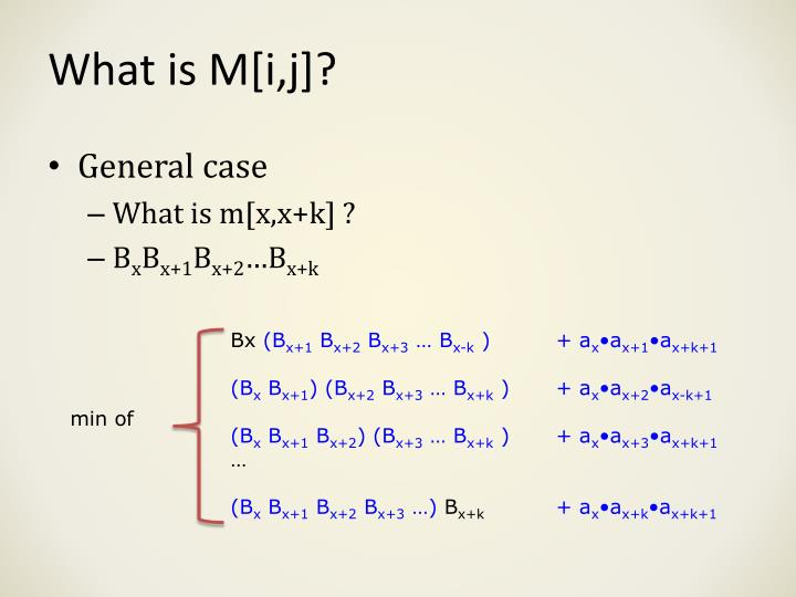 What is M[i,j]?