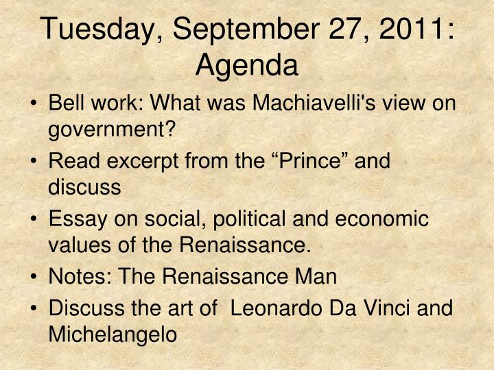 Tuesday, September 27, 2011: Agenda