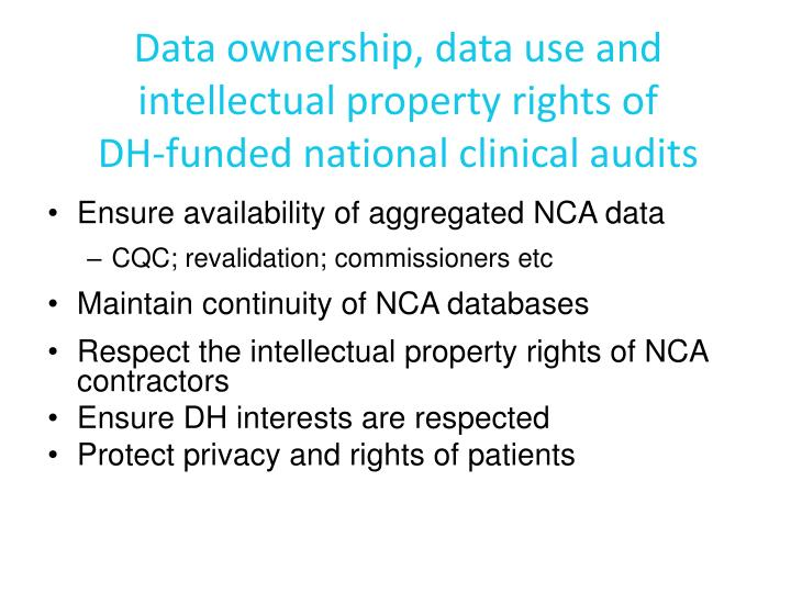 Data ownership, data use and intellectual property rights of