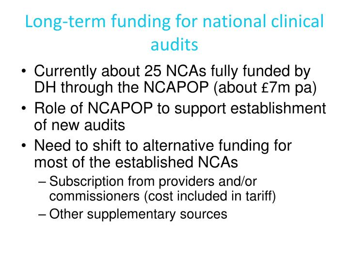 Long-term funding for national clinical audits