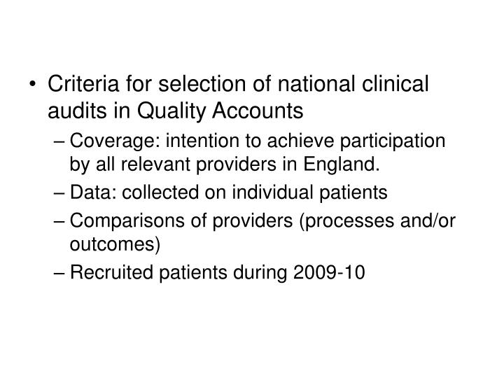 Criteria for selection of national clinical audits in Quality Accounts