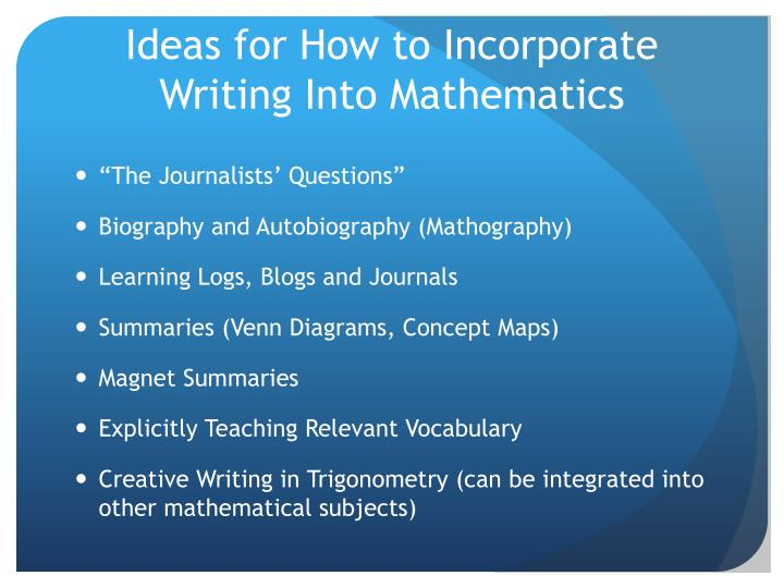 Ideas for How to Incorporate Writing Into Mathematics
