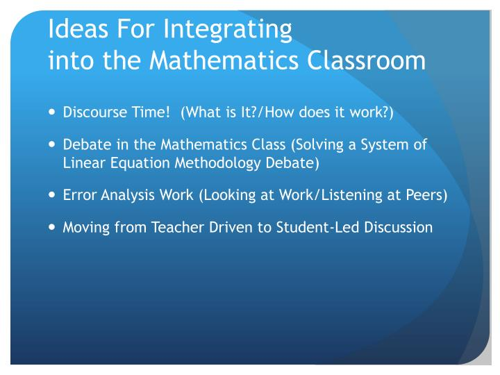 Ideas For Integrating