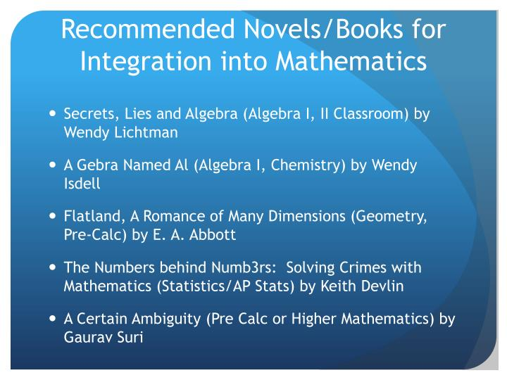 Recommended Novels/Books for Integration into Mathematics