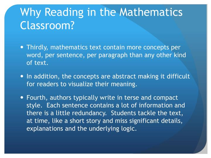 Why Reading in the Mathematics Classroom?