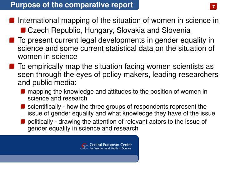 Purpose of the comparative report