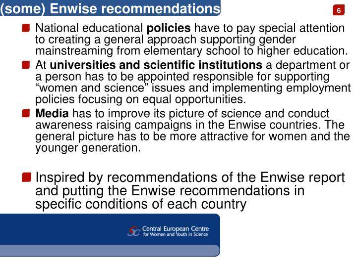 (some) Enwise recommendations