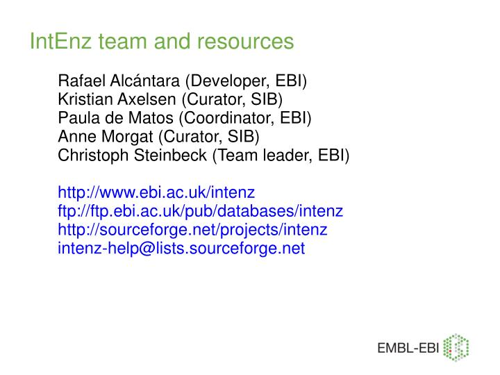 IntEnz team and resources