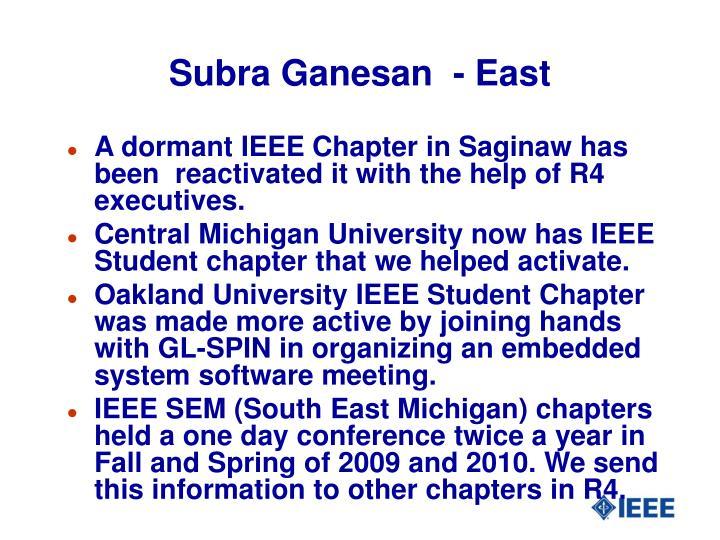 Subra Ganesan  - East