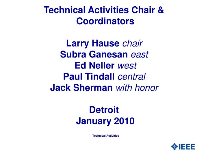 Technical Activities Chair &