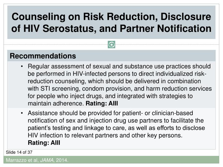 Counseling on Risk Reduction, Disclosure of HIV