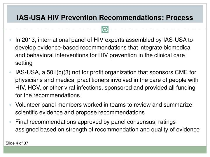 IAS-USA HIV Prevention Recommendations: