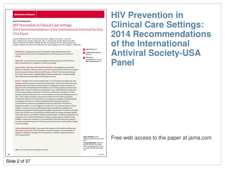 HIV Prevention in Clinical Care Settings: 2014 Recommendations of the International Antiviral Society-USA Panel