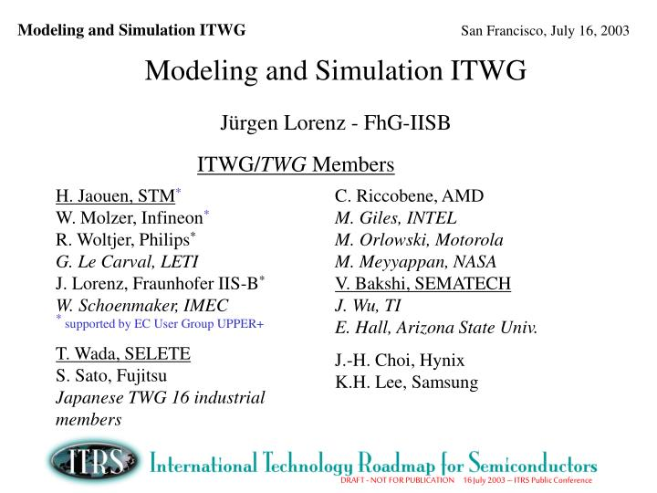 Modeling and Simulation ITWG