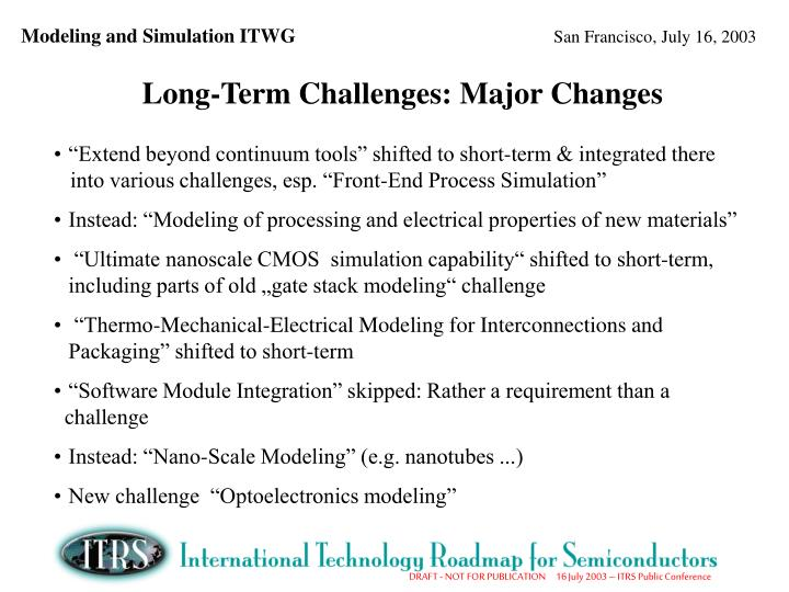 Long-Term Challenges: Major Changes