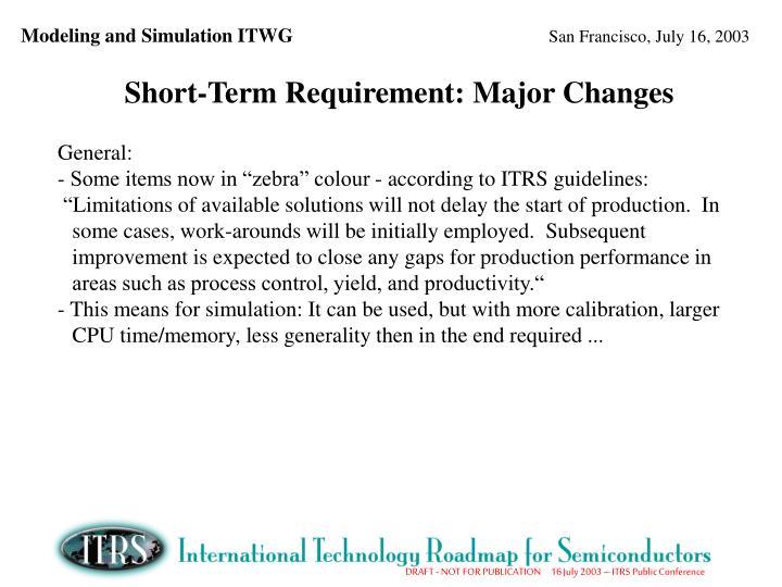 Short-Term Requirement: Major Changes