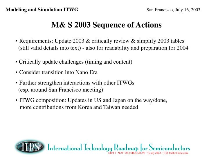 M& S 2003 Sequence of Actions