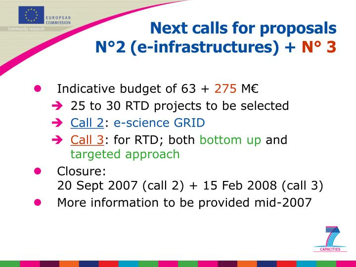 Next calls for proposals