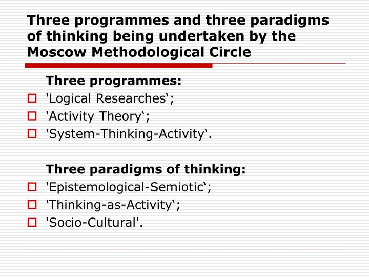 Three programmes and three paradigms of thinking being undertaken by the Moscow Methodological Circle
