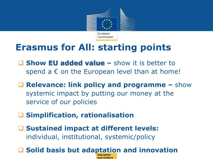 Erasmus for all starting points
