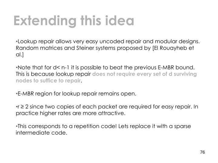 Extending this idea