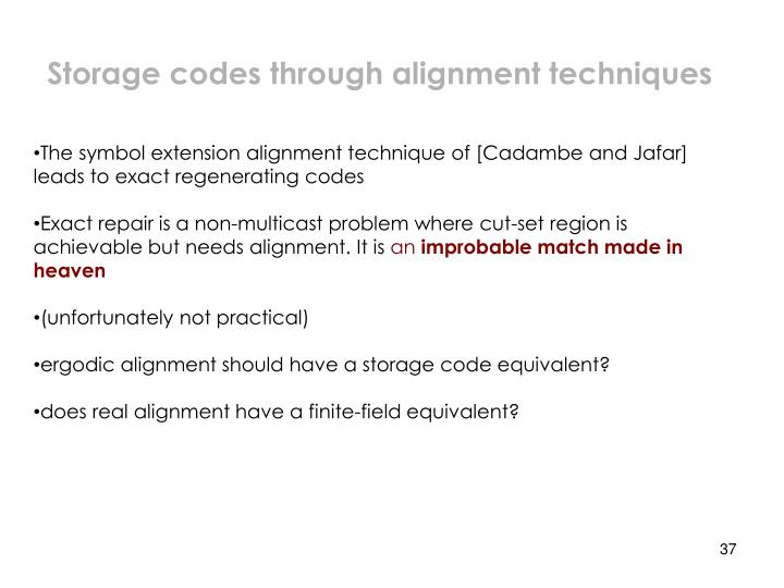 Storage codes through alignment techniques