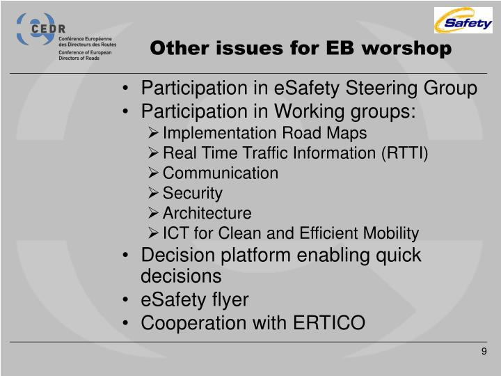 Other issues for EB worshop