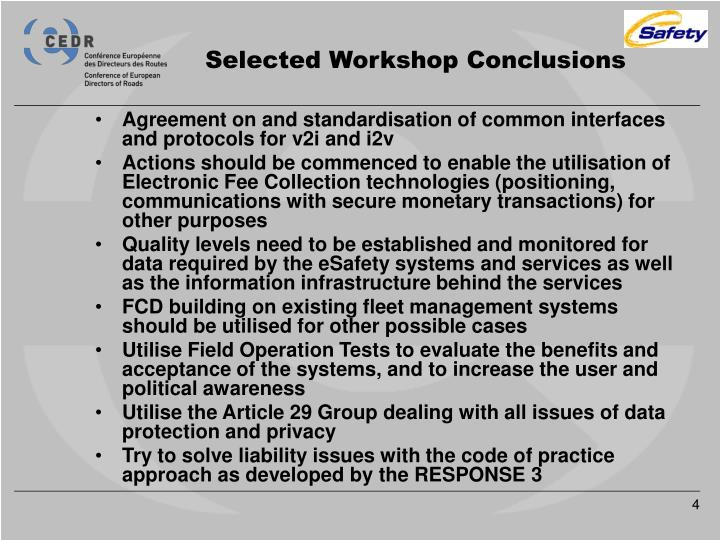 Selected Workshop Conclusions