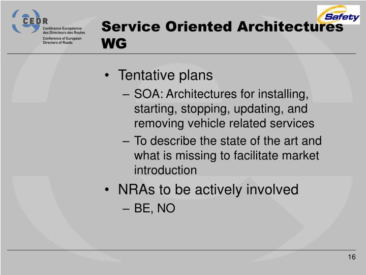 Service Oriented Architectures WG
