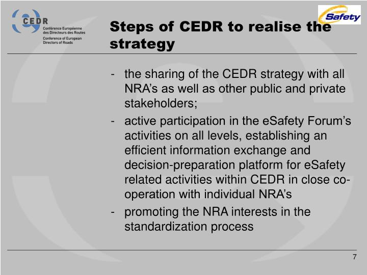 Steps of CEDR to realise the strategy