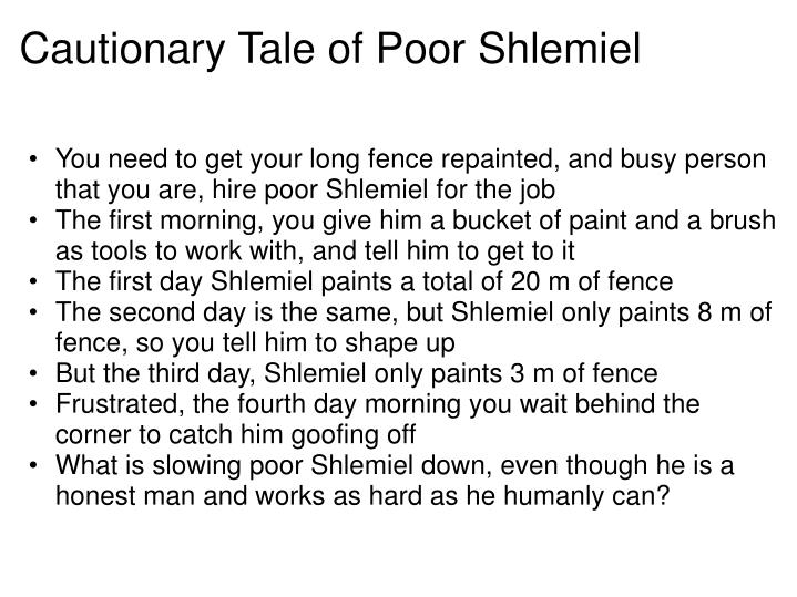 Cautionary Tale of Poor Shlemiel