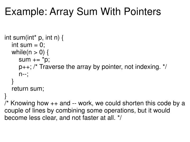Example: Array Sum With Pointers