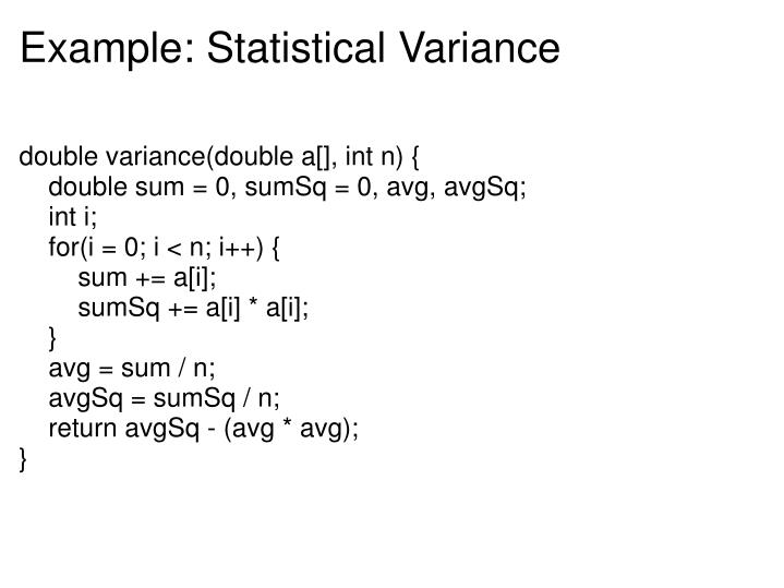 Example: Statistical Variance