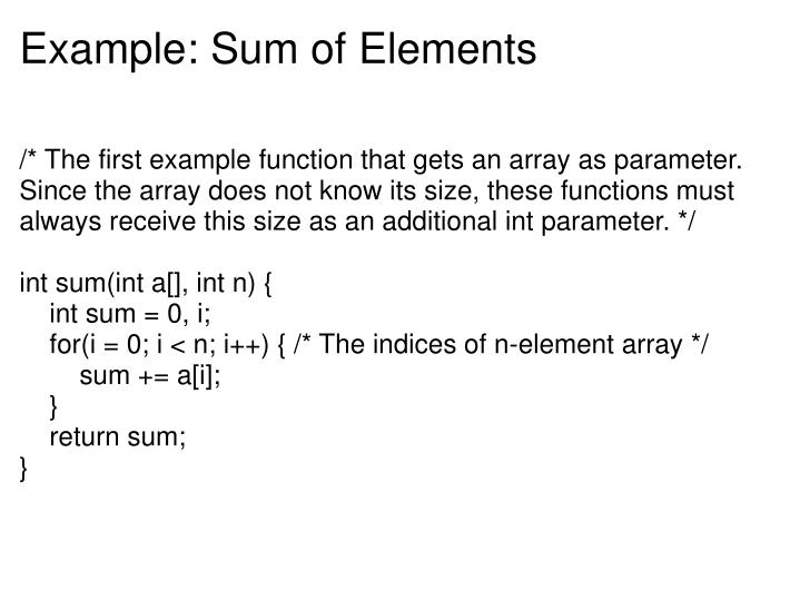 Example: Sum of Elements