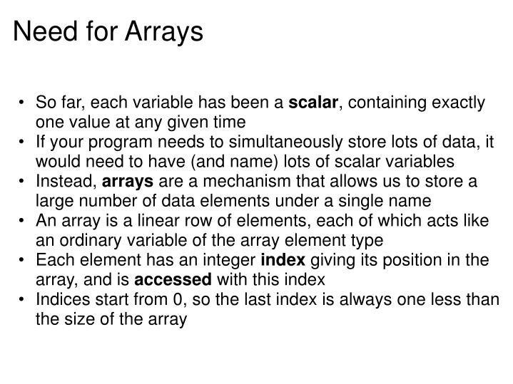 Need for Arrays