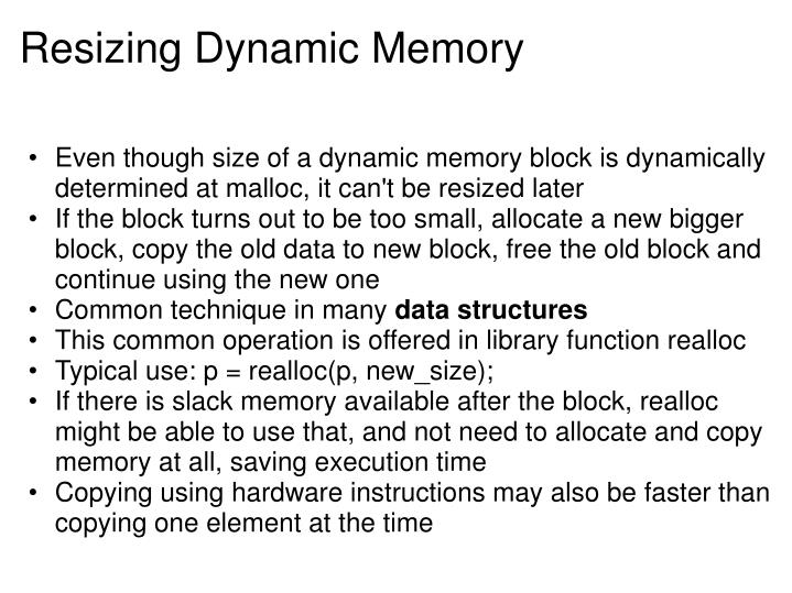Resizing Dynamic Memory