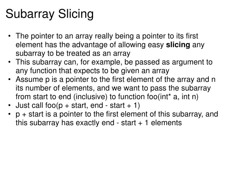 Subarray Slicing