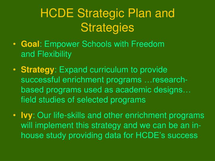 HCDE Strategic Plan and Strategies